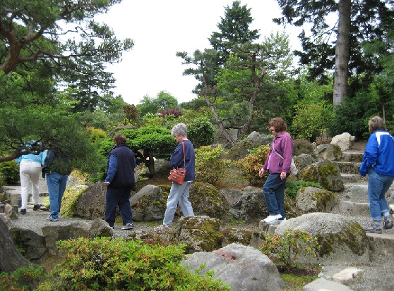 WABI Weekday Walkers June 18 at the Japanese Garden in SeaTac Botanical Garden.